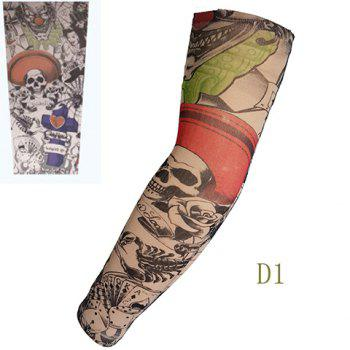 Stylish One Piece Outdoor Animation Skull Joker Pattern Fake Tattoo Arm Sleeve For Men