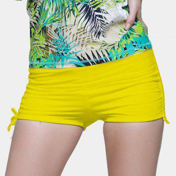Graceful Mid Waist Solid Color Side Scrunch Women's Swim Boyshorts
