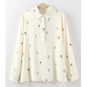 Sweet Flat Collar Long Sleeves Cartoon Print Women's Blouse