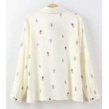 Sweet Flat Collar Long Sleeves Cartoon Print Women's Blouse - CRYSTAL CREAM L