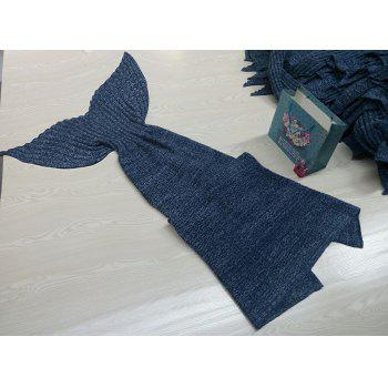 Chic Quality Comfortable Solid Color Handmade Wool Knitted Mermaid Design Throw Blanket - BLUE L