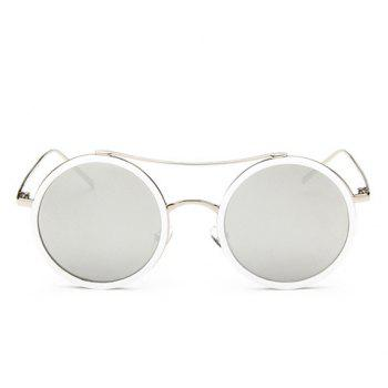 Chic Round Frame Candy Color Lenses Women's Sunglasses - WHITE