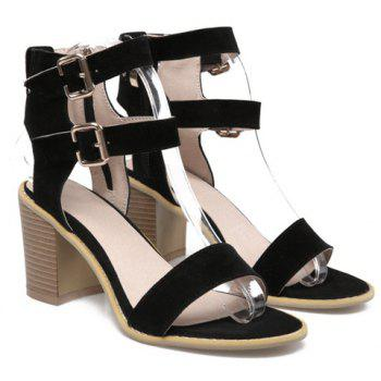 Simple Buckle Strap and Suede Design Sandals For Women - BLACK 34