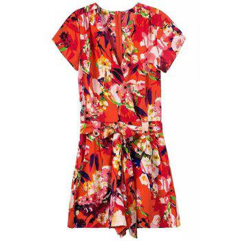 African Style Floral Print Belted Women's Romper