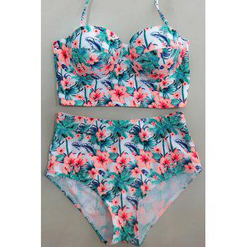 Halter Floral High Waisted Bikini with Push Up Top - ORANGEPINK S