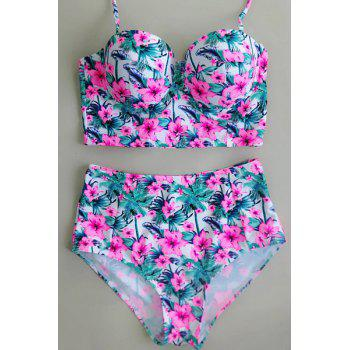 Halter Floral High Waisted Bikini with Push Up Top - PINK XL
