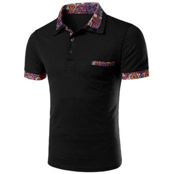 Casual Turn-down Collar Floral Spliced Short Sleeves Men's Polo T-Shirt - BLACK BLACK