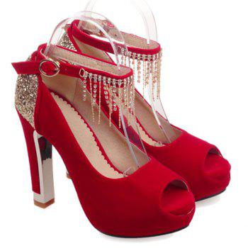 Fashionable Sequins and Ankle Strap Design Peep Toe Shoes For Women - RED RED