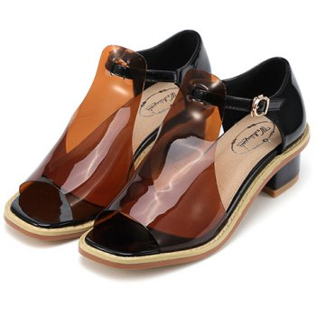 Casual Hollow Out and Chunky Heel Design Women's Peep Toe Shoes - COFFEE 39