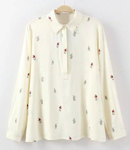 Sweet Flat Collar Long Sleeves Cartoon Print Women's Blouse - CRYSTAL CREAM M