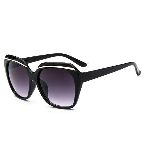 Chic Silver Metal Inlay Full Frame Women's Sunglasses - BLACK
