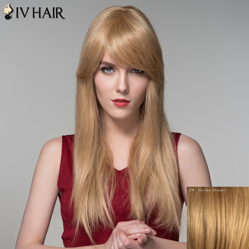 Stylish Straight Capless Charming Long Side Bang Human Hair Wig For Women - GOLDEN BLONDE