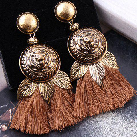 Pair of Lion Head Round Tassel Earrings - COFFEE