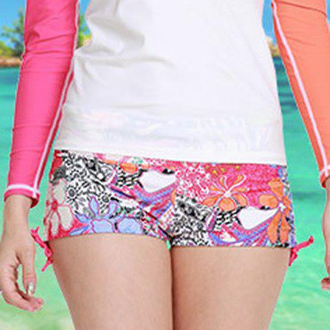 Graceful Mid Waist Flower Pattern Side Scrunch Women's Swim Boyshorts