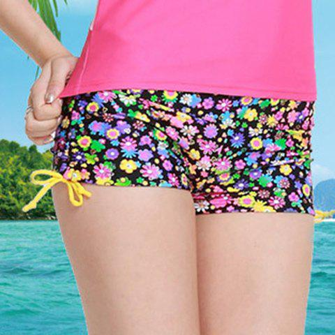 Graceful Mid Waist Colorful Tiny Floral Print Side Scrunch Women's Swim Boyshorts - COLORMIX S