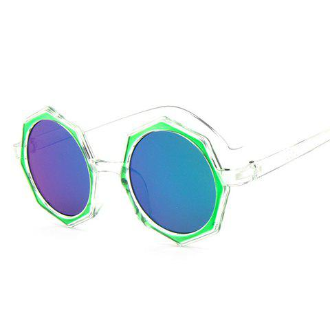 Chic Polygonal Frame Candy Color Lenses Women's Sunglasses - GREEN