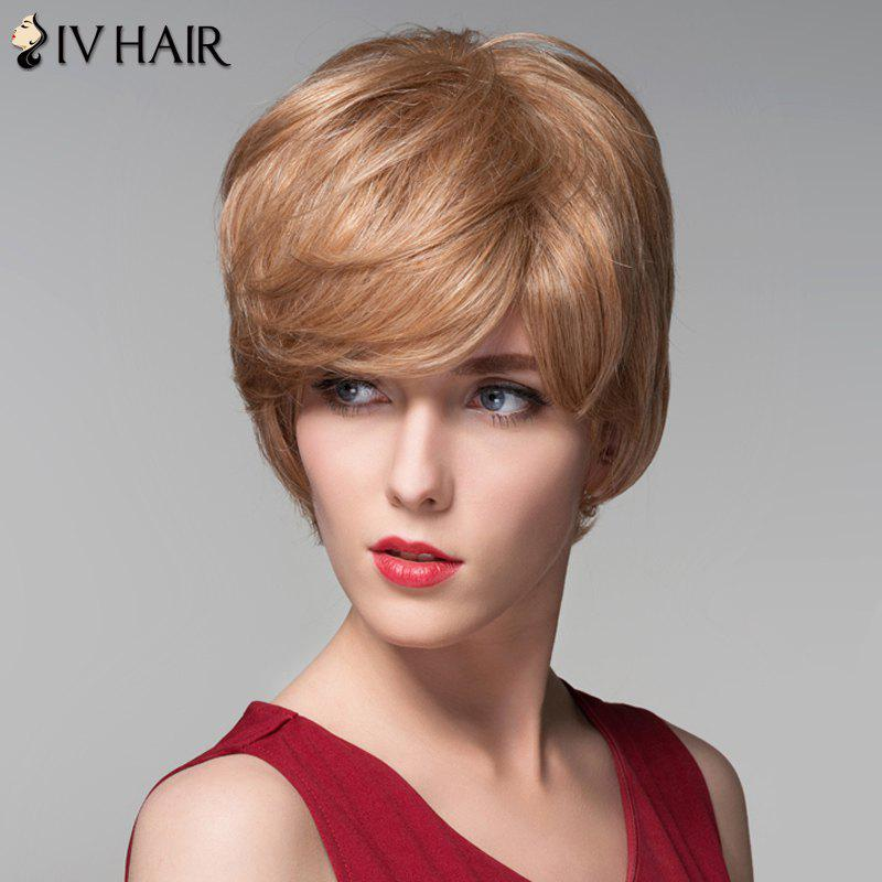 Elegant Short Capless Fluffy Natural Wave Noble Side Bang Human Hair Wig For Women - BROWN/BLONDE