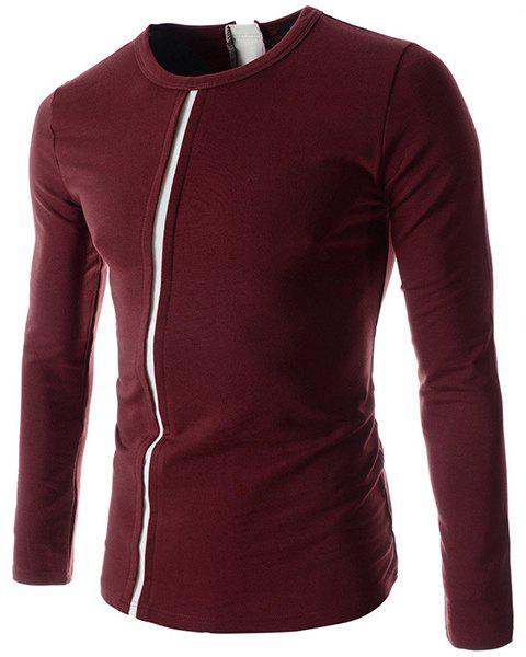 Round Neck Color Block Spliced Long Sleeve Men's T-Shirt - WINE RED 2XL