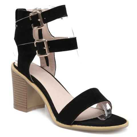 Simple Buckle Strap and Suede Design Sandals For Women