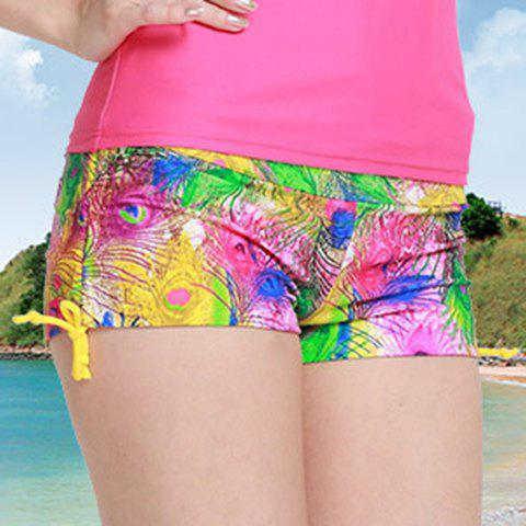Graceful Mid Waist Colorful Feather Print Side Scrunch Women's Swim Boyshorts - COLORMIX M