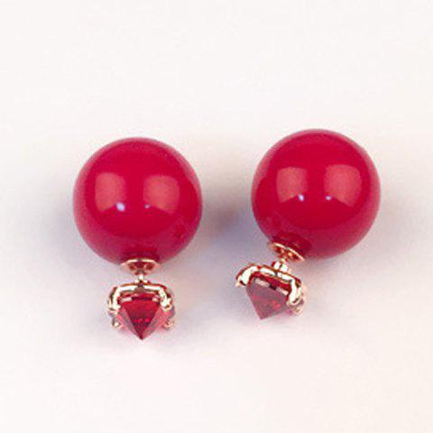Pair of Ball Faux Ruby Earrings - RED