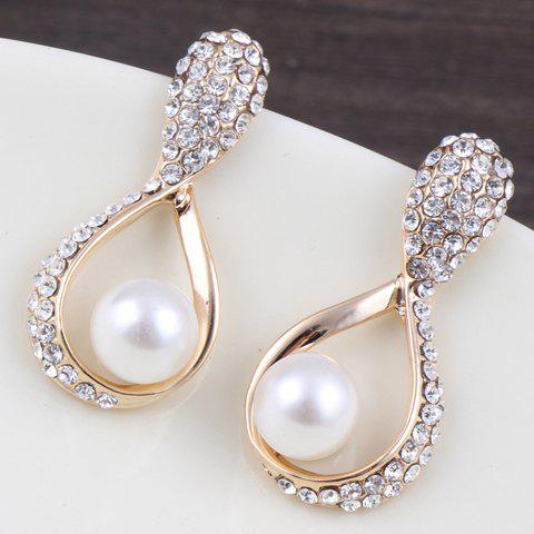 Pair of Water Drop Faux Pearl Earrings - GOLDEN