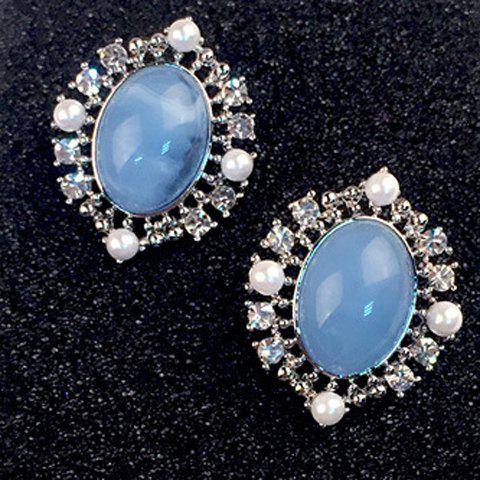 Pair of Chic Faux Pearl Oval Earrings For Women - BLUE
