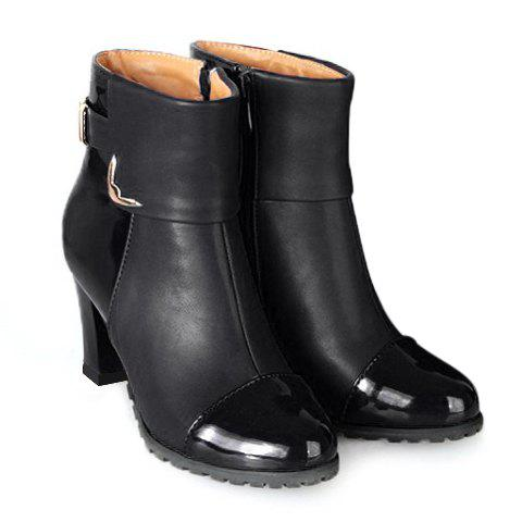 Elegant Patent Leather and Metallic Design Ankle Boots For Women - BLACK 39