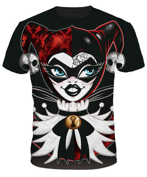 Slimming Clown Printing Round Collar T-Shirt For Men - COLORMIX M