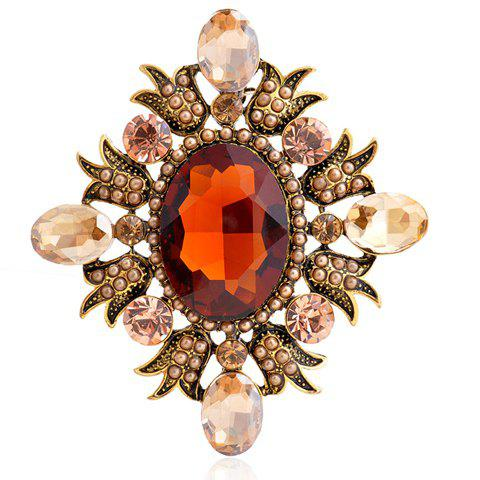 Chic Faux Crystal Oval Rhombus Brooch For Women