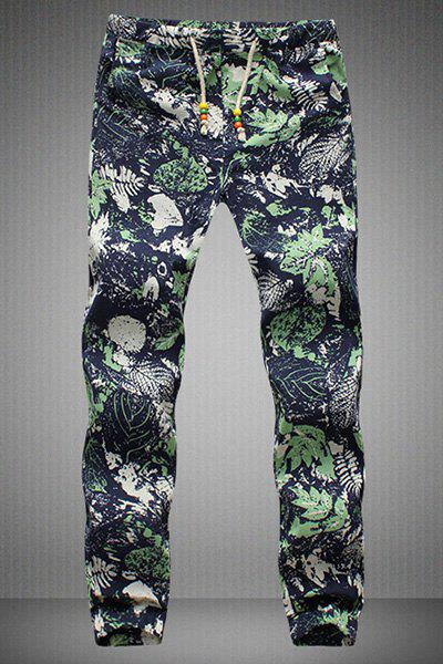Narrow Feet Drawstring Leaves Printed Men's Jogger Pants - COLORMIX M