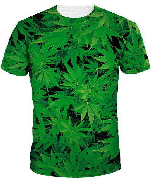 Slimming Round Collar Weed T-Shirt For Men - GREEN M