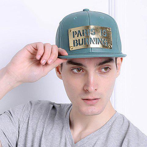 Stylish Hollow Out Letter Shape Embellished PU Baseball Cap For Men - GREEN
