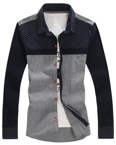 Turn-Down Collar Polka Dot Corduroy Splicing Long Sleeve Shirt For Men
