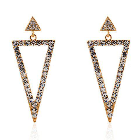 Pair of Charming Triangle Rhinestoned Earrings For Women