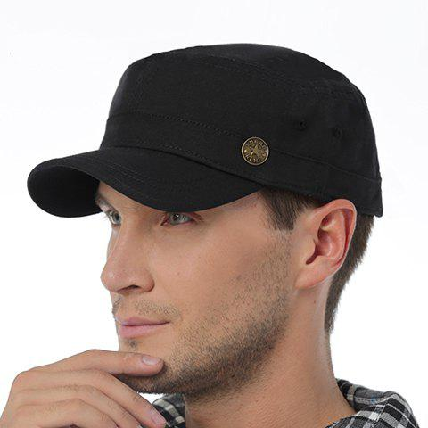 Stylish Five-Pointed Star Button Embellished Men's Military Hat - BLACK