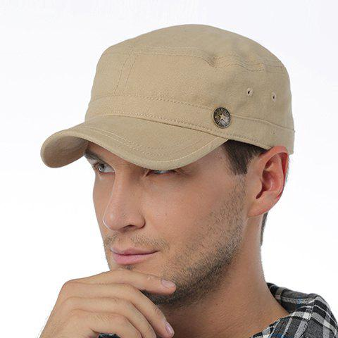 Stylish Five-Pointed Star Button Embellished Military Hat For Men - KHAKI