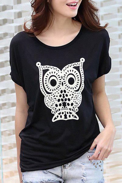 Cute Women's Scoop Neck Short Sleeve Night Owl Printed T-Shirt - BLACK ONE SIZE(FIT SIZE XS TO M)