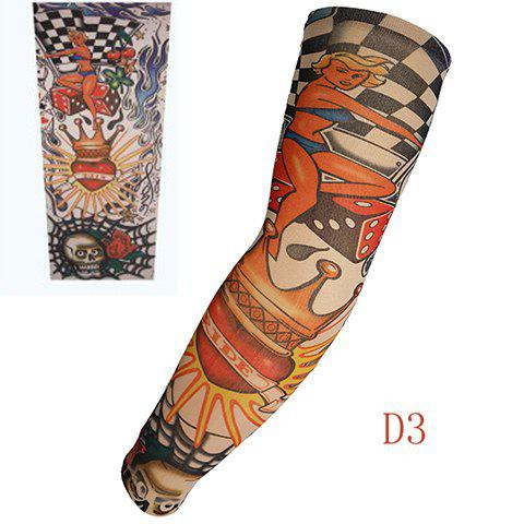 Stylish One Piece Comic Bikini Girl and Crown Print Fake Tattoo Arm Sleeve For Men - COLORMIX