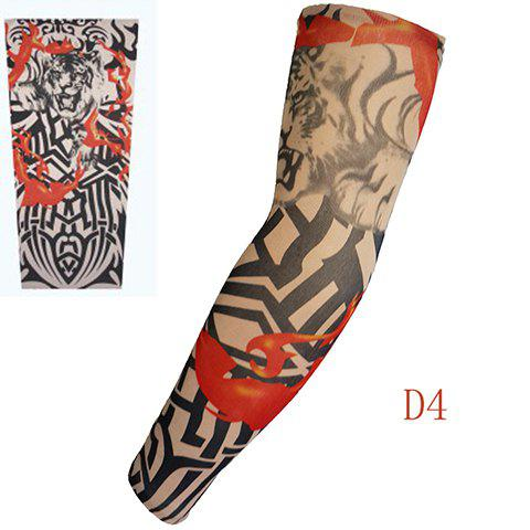 Stylish One Piece Tiger and Irregular Stripe Print Fake Tattoo Arm Sleeve For Men - COLORMIX