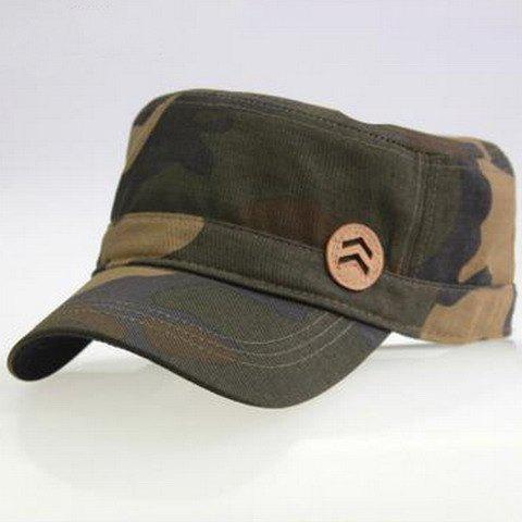 Stylish Button Shape Embellished Camouflage Military Hat For Men