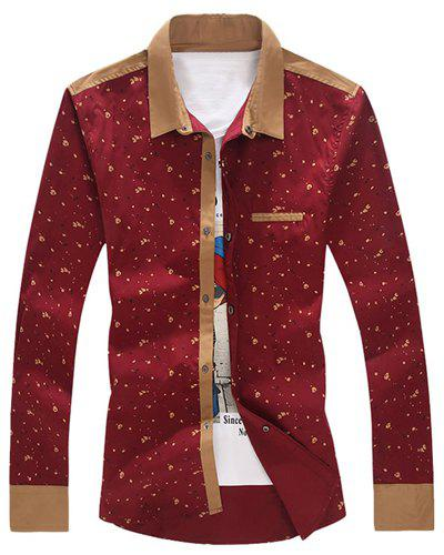 Turn-Down Collar Tiny Floral Print Splicing Long Sleeve Men's Shirt - RED M