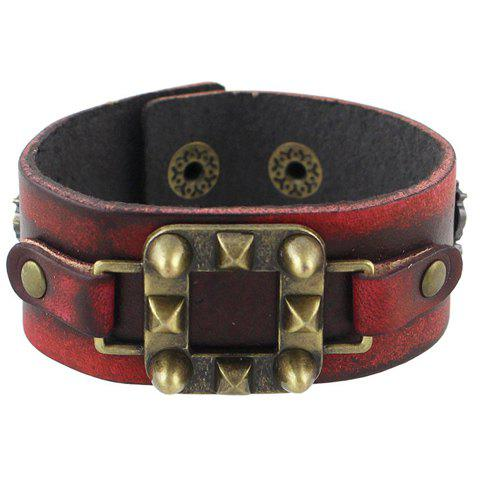 Faux Leather Geometric Bracelet - RED