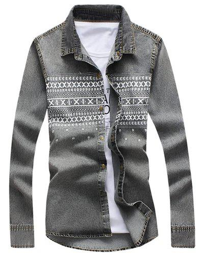 Turn-Down Collar Geometric Print Long Sleeve Denim Shirt For Men - GRAY XL