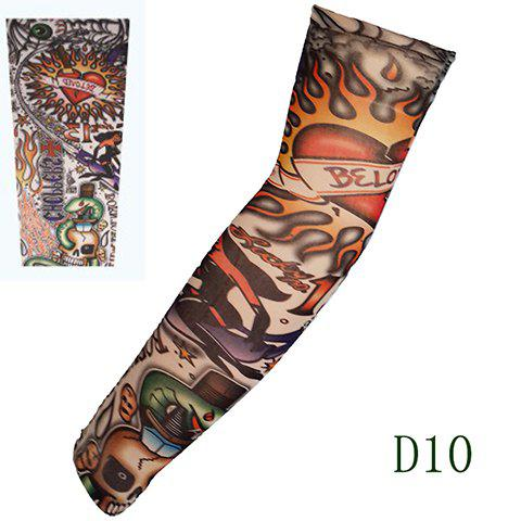 Stylish One Piece Comic Flamed Heart and Skull Print Fake Tattoo Arm Sleeve For Men - COLORMIX
