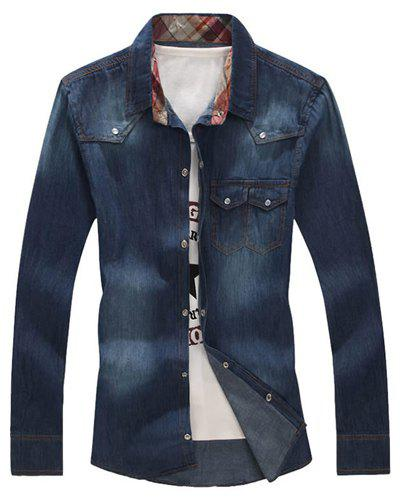 Turn-Down Collar Buttons Embellished Long Sleeve Denim Shirt For Men - DEEP BLUE L