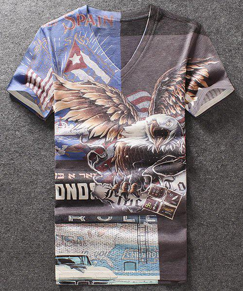 Fashion Hawk Printed V-Neck Pullover T-Shirt For Men - COLORMIX M