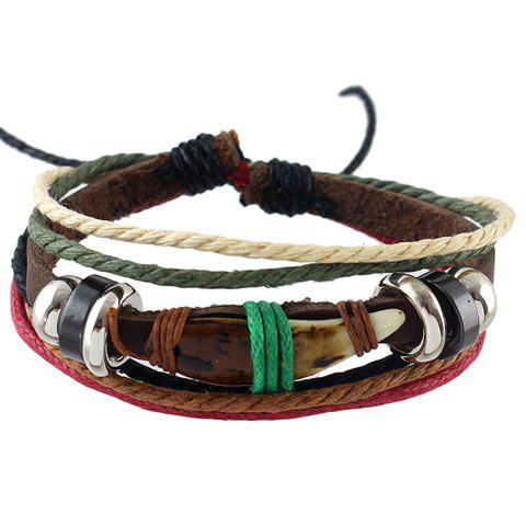 Punk Layered Faux Leather Rope Bracelet - COFFEE