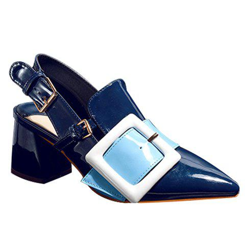 Trendy Buckle and Slingback Design Women's Pumps - BLUE 39