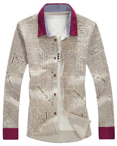 Turn-Down Collar Letters Print Splicing Long Sleeve Men's Shirt - COLORMIX M